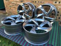 """NEW 4x 18"""" inch Audi Rotor Twist Arm Alloy Wheels BLACK A3 A4 A5 RS3 RS4 RS5 RS6 S5 S3 S4 TTRS oqkwv"""