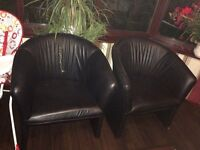 LEATHER SOFA CHAIRS X 4 GOOD CONDITION