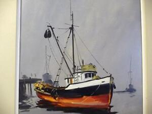 Listed Artist, Original Oil, Fishing Boat by Egbert Oudendag, Stratford Kitchener Area image 2