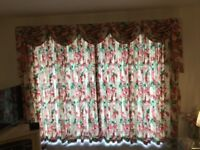 Full length lined curtains, swags ,tails and tie backs