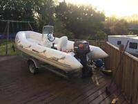 4.2m white bison marine rib speed boat with 40 hp tohatsu outboard wit trailer