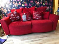 Lovely red 3 starter sofa and snuggle chair