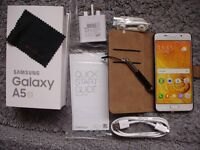SAMSUNG GALAXY A5 6 SM-A510F WHITE 16GB 2016 MODEL, ON EE, ORANGE, Virgin Mobile, Asda Mobile, BT +