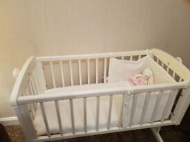 Relisted** Mothercare white swinging cot