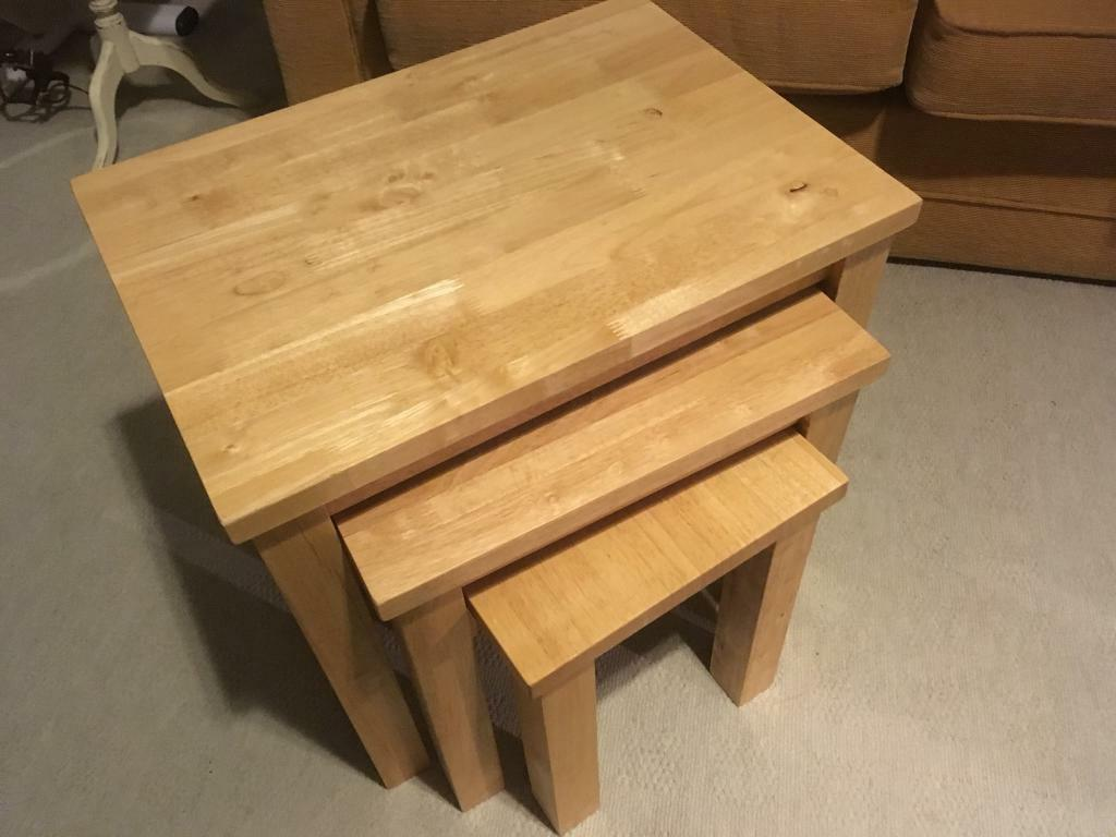 Solid Oak Nest of Coffee Tables SSTC