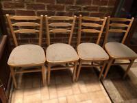 Set of 4 kitchen chairs ladder back design