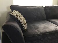 Comfortable 3 seater dark grey fabric sofa