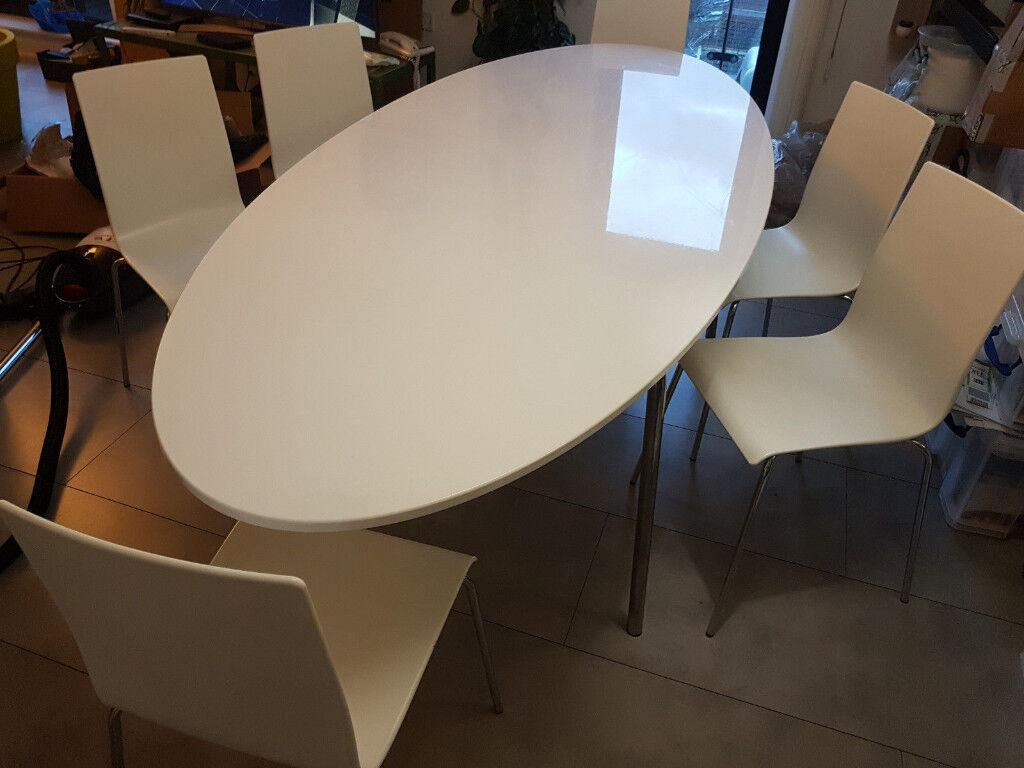 Ikea Gidea Large White Gloss Oval Dining Table John Lewis Matt Chairs Dinner Set In Leytonstone London Gumtree