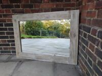 Large wooden rustic handcrafted mirror. Reclaimed wood nordic shabby chic.