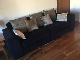 Black 2 seater and 4 seater fabric sofa