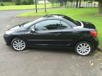 2008 Peugeot 207cc, Black 207 cc (not VW, Honda, Ford Fiesta, Mini) mint condition, easy insured