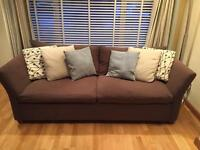 Large handmade brown fabric sofa. Very comfy! Great condition £220 ono