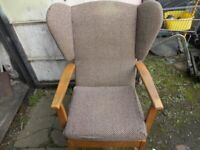 Vintage Retro Evesham High Back Wing Back Bedroom Lounge Fireside Armchair Teak & Fabric 1980's