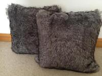 New ikea grey fur cushions with feather inserts 50cm X 50cm