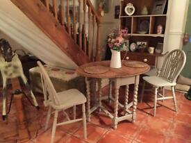Barley twist table & two chairs