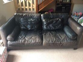 Italian leather large 2 seater sofa