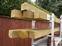 PRESURE TREATED FENCE POSTS AND METAL SUPPORTS.