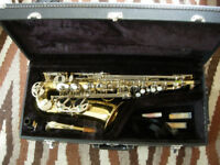 Earlham alto saxophone with new reeds, accessories etc- great playing sax in good condition