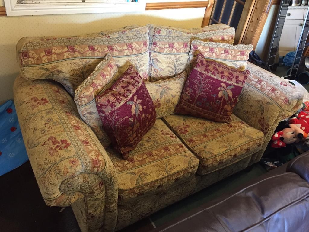 Double sofa and foot stool with storage
