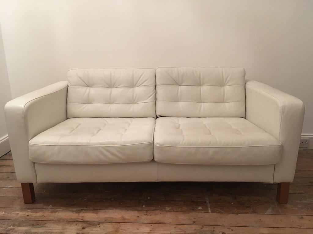 White Leather Ikea Karlstad Sofa In East Renfrewshire
