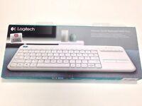( New and Sealed ) Logitech K400 Plus Wireless Touch Keyboard - QWERTY, UK Layout, White