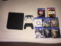 Playstation 4 Slim + 8 Games + 2 Controllers + Headset (Immaculate)