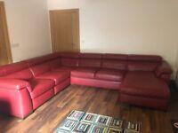 Natuzzi red leather corner sofa in excellent condition