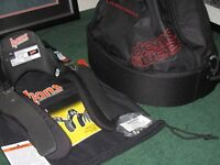 HANS DEVICE; NEW. ADJUSTABLE,.SUIT SALOON, SPORTS & SINGLE SEATER. COMPLETE WITH BAG & HELMET CLIPS