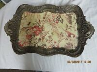 Vintage Floral Metal Serving Tray