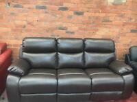 Ex Display Harvey's Brown Leather 3 Seater Sofa - RRP £699 - UK Delivery