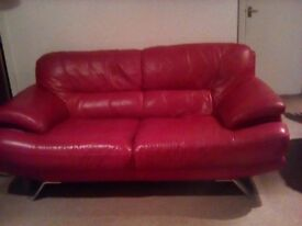 Leather sofa's in red - very stylish