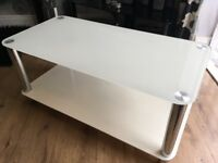 White glass coffee table tv stand and side stand