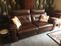 Brown Leather Sofas, 1 x 3 piece suite, 1 x 2 piece suite