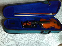 junior violin case and violin(faulty- missing string )