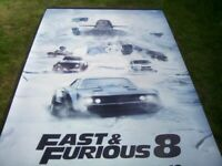 FAST & FURIOUS 8 PROMOTIONAL VINYL CINEMA BANNER * 8' X 5'