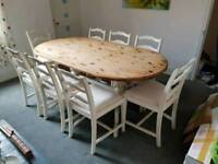 Shabby chic 8 seater dining table set