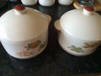 TWO LOVELY COUNTRY CASSEROLE POTS - OVEN TO TABLE FOR GAS/ELECT/MICROWAVE