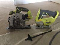 Ryobi 1+ circular saw, jigsaw, 3 batteries and charger