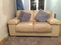 Three and Two seater Cream leather sofas Free to collect