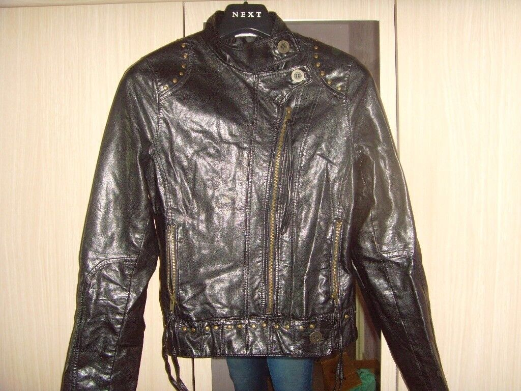 LADIES FAUX LEATHER JACKET WITH STUDS,SIZE 8 -£2