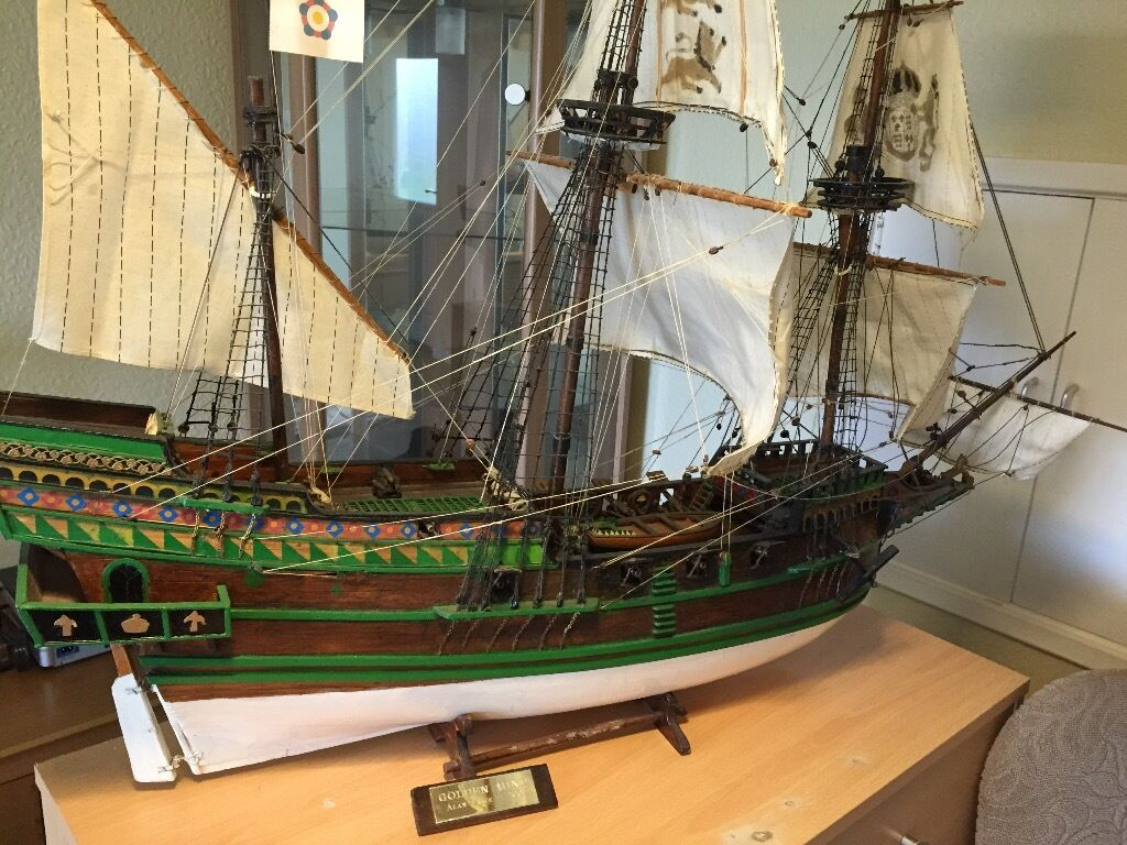 replica   hms golden hind wooden model kit  constructed  large billing boats