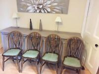4 oak retro farmhouse kitchen chairs with green leather seat