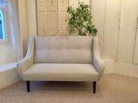 Original Danish Vintage Mid Century Small 2 Seater Sofa New John Lewis Fabric