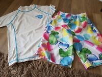 Next age 8 swim top and swim shorts