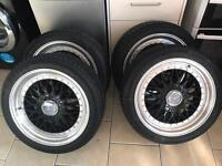 """Brand new 17"""" multi fit 4 stud bbs wheels with new 215/45/17 tyres"""