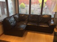 Brown leather corner sofa (ex Andersons of Inverurie)
