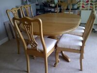 6 Seater extending dining table and chairs