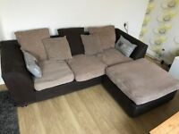Nice cosy cord fabric corner sofa - can deliver