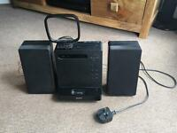 Sony Sound System with two speakers CD player and iPod docking station