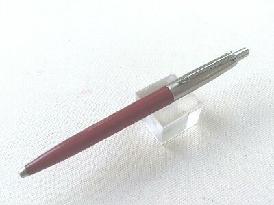 "Dark Red Parker Jotter Ball Pen Made in UK Recessed ""P"" button Excellent"
